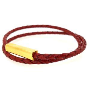 צמיד עור אדום 2 רצועות סוגר זהב 18k